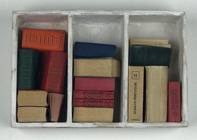 DO GNOMO / Dicionários miniatura e madeira </br> <em>GNOME'S / Miniature dictionaries and wood</em> </br> 14 x 21 x 6 cm </br> 2016
