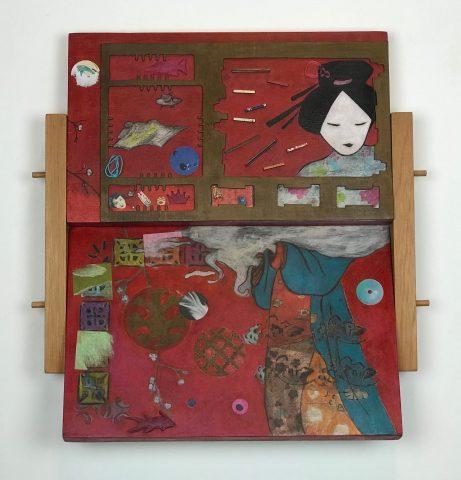 JAPONESISMOS / Técnica mista sobre madeira </br> <em>JAPANESE / Mixed media on wood </em></br> 52 x 51 x 10 cm </br> 2018